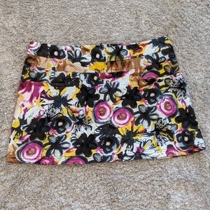 Rue21 Floral Zippered Stretch Mini Skirt